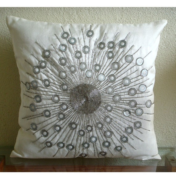 Throw Pillow Covers 16x16 Inch White Silk Cover Accent Pillow Decorative Pillow Couch Pillows Sofa Pillow Bead Embroidered Silver Moon Light