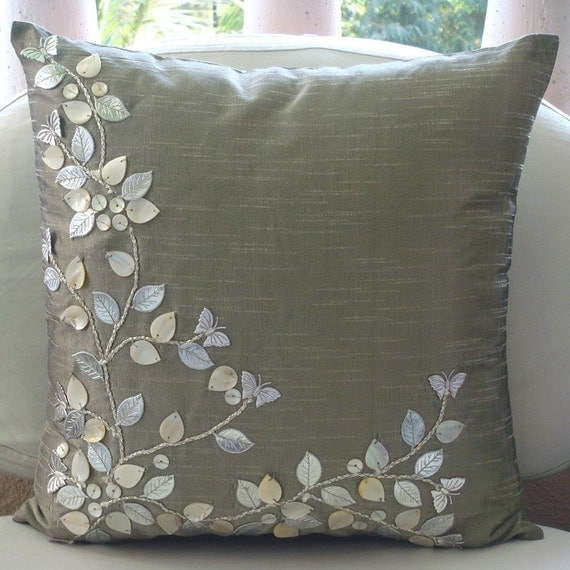Euro sham covers 26x26 silk mother of pearl leather - Cojines decorativos para sofas ...