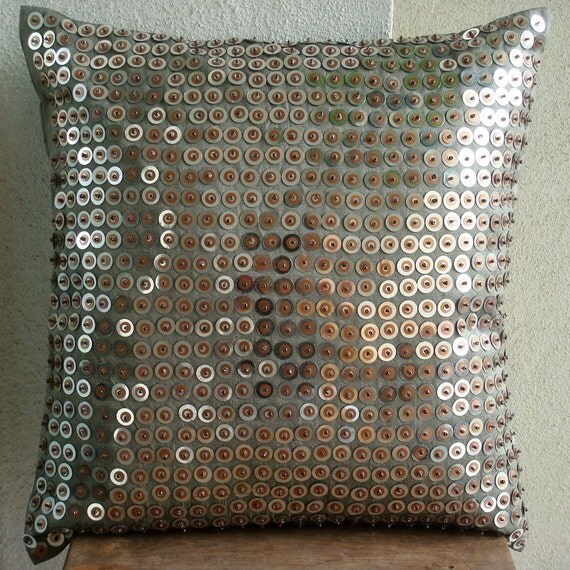 Exotic Lounge - Euro Sham Covers - 26x26 Inches Silk Pillow Cover with Sequins