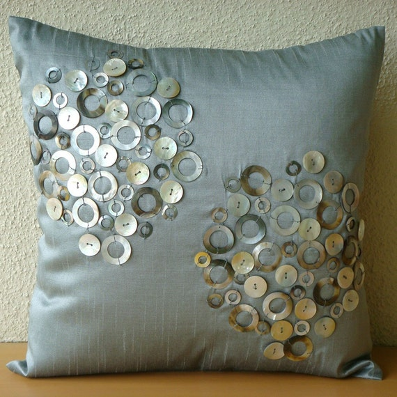 Pearl Atmosphere - Throw Pillow Covers - 18x18 Inches Silk Pillow Cover with Mother Of Pearl Embroidery