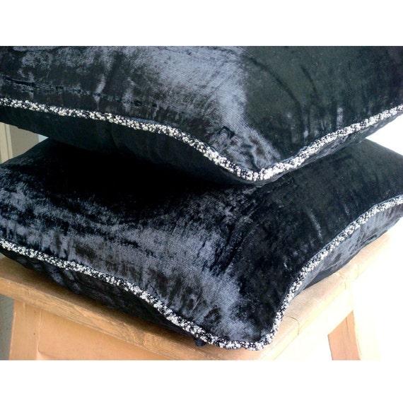 Black Shimmer Pillow Sham Covers 24x24 Inches Velvet