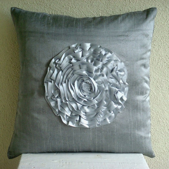 Silver Vintageous - Euro Sham Covers - 26x26 Inches Silk Euro Sham Cover with Satin Frill Embroidery
