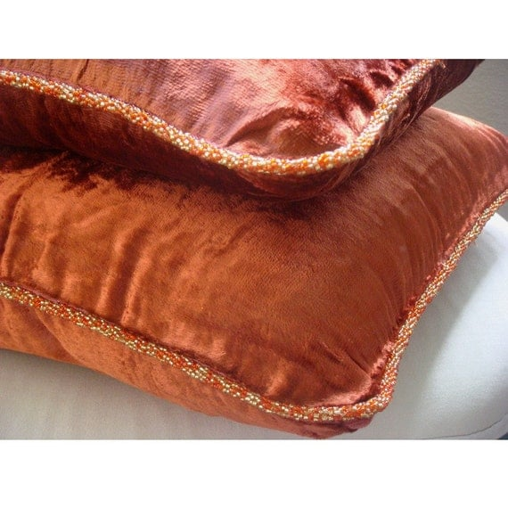 Decorative Throw Pillow Covers Accent Pillow Couch Pillow Bed Pillow Sofa Pillow 20x20 Rust Velvet Pillow Case with Bead Cord Rust Shimmer