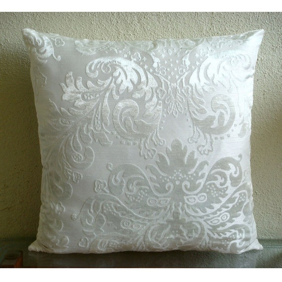 Ivory Damask Throw Pillow Covers 16x16 Inches Velvet