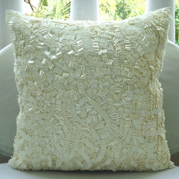 Ivory Elegance - Euro Sham Covers - 26x26 Inches Silk Euro Sham Cover with Ivory Satin Ribbon Embroidery