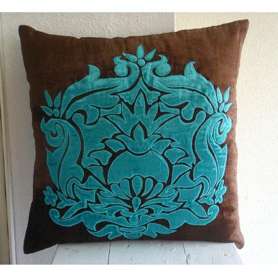 Applique Damask  - Pillow Sham Covers - 24x24 Inches Velvet Pillow Sham Cover