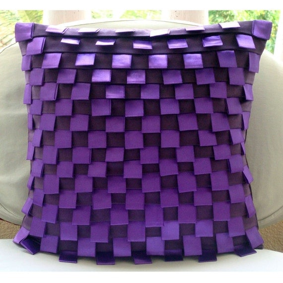 Purple Harmony - Euro Sham Covers - 26x26 Inches Suede Euro Sham Cover with Pintucks and Satin Ribbon