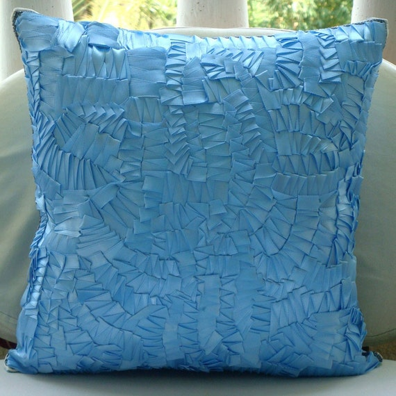 Pillow Sham Covers 24x24 Silk Ribbon Embroidered Accent Pillow Blue Toss Couch Sofa Bed Pillows Decorative Pillows Pillow Cases Mist