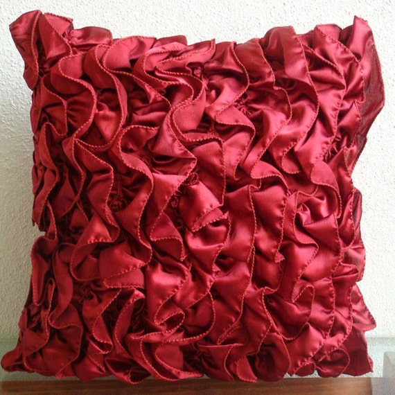 Decorative Throw Pillow Covers Couch Pillow Case Sofa Pillows Bed Pillows Toss Pillows 20x20 Ruby Satin Ruffle Pillow Cover Vintage Rubys