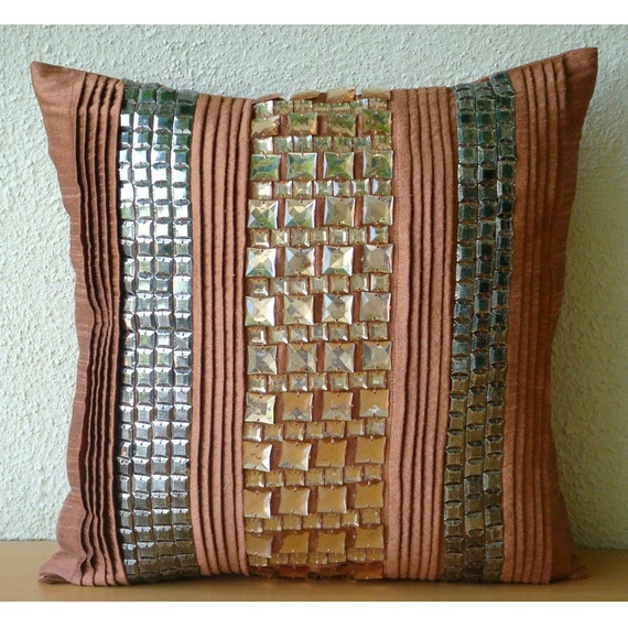 Rust Pillow Cases 16x16 Couch Pillows Pleated And Embroidered Silk Pillow Cover - Crystalline
