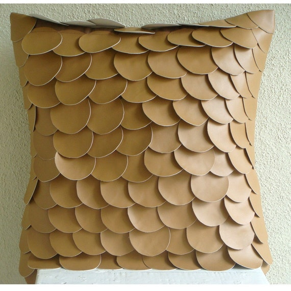 Items similar to Decorative Throw Pillow Covers 16x16 Tan Leather Embroidered Pillow Covers ...