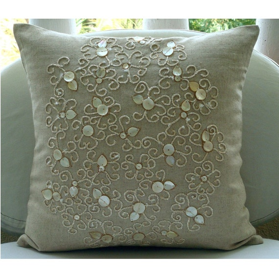 "Designer Ecru Accent Pillows, 16""x16"" Cotton Linen Pillows Cover, Square  Mother Of Pearls Decorative Pillows Cover - Pure Treasures"