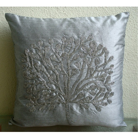 """Handmade  Silver Throw Pillows Cover For Couch, Beaded Tree Pillow Cases Square  18""""x18"""" Silk Throw Pillows Cover - The Silver Tree"""