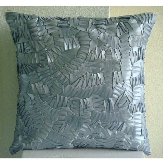 """Luxury  Ribbon Art Work Abstract Pillowcases, Silver Throw Pillows Cover For Couch Silk Pillows Cover, Square  20""""x20"""" - Silver Mist"""