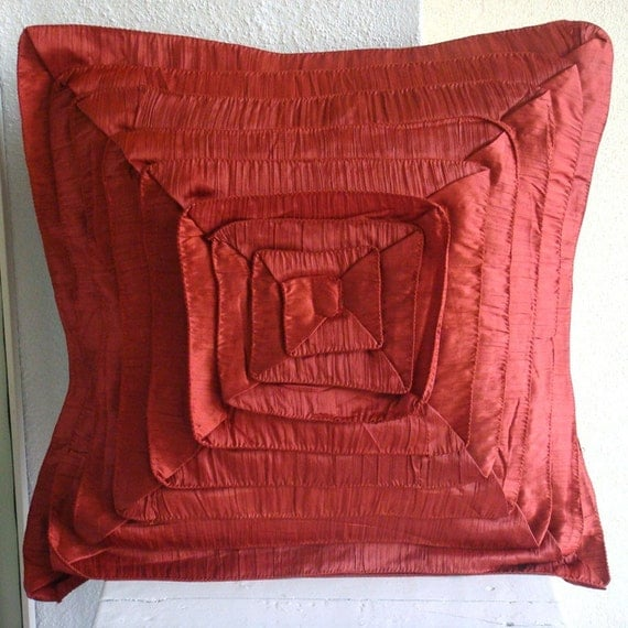 "Handmade  Rust Cushion Covers, Vintage Style Frills Pillows Cover Square  18""x18"" Crushed Silk Pillowcase - RustyFrills"