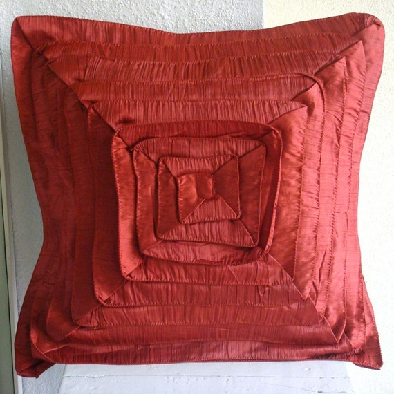 Rusty Frills - Throw Pillow Covers - 18x18 Inches Crushed Silk Pillow Cover with Frills