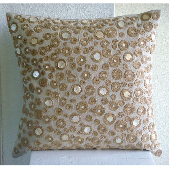 Designer Dotted Jute Pillows Cover Ecru Throw Pillow Covers