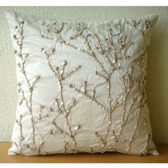 Beige Throw Pillow Covers 18x18 Silk Pillow Cover Jute