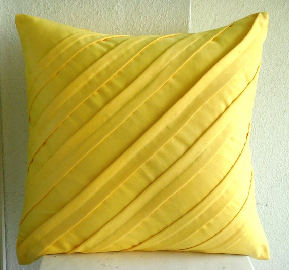 "Handmade Yellow Throw Pillow Covers, Textured Pintucks Solid Color Pillow Covers Square  18""x18"" Faux Suede Pillowcase -Contemporary Yellow"