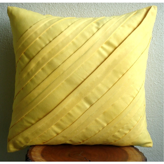 Throw Pillow Covers Yellow : thehomecentric - Contemporary Yellow - Throw Pillow Covers - 20x20 Inches Suede Pillow Cover in ...