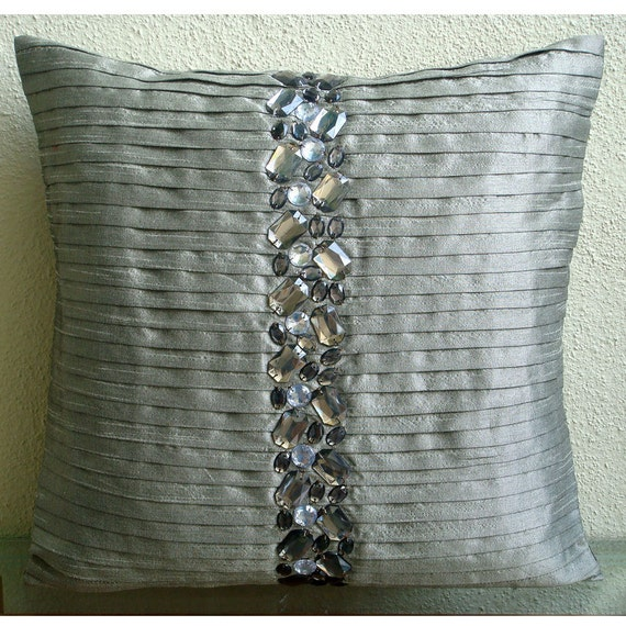 "Handmade Silver Decorative Pillows Cover, 16""x16"" Silk Pillowcase, Square  Pintucks And Crystals Pillows Cover - Crystal Heaven"