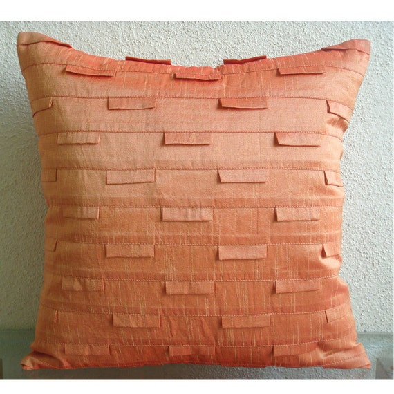 Silk Decorative Pillow Covers : Throw Pillow Covers 16x16 Inch Silk Orange by TheHomeCentric