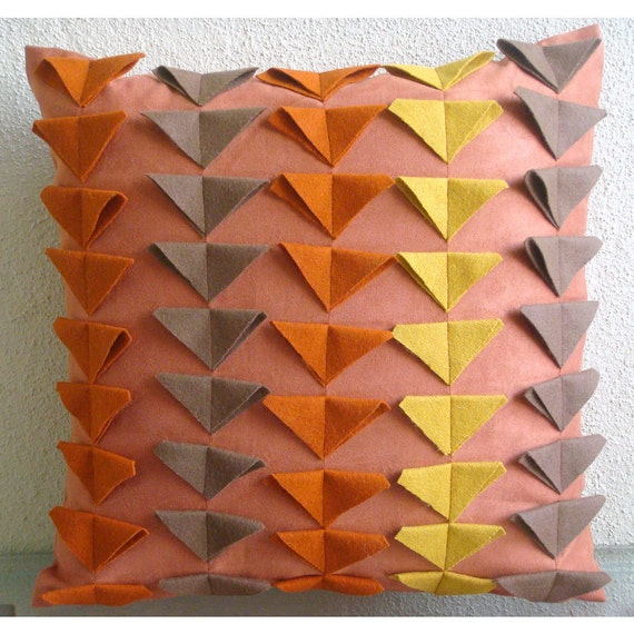 Warm Glow - Pillow Sham Covers - 24x24 Inches Suede Pillow Sham Cover with Felt Triangles