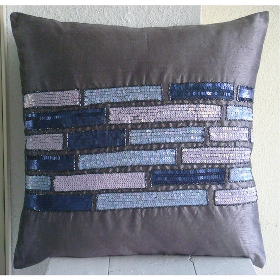 Decorative Throw Pillow Cover Accent Couch Toss Pillow Case Purple 16x16 Inches Pillow Cover Silk Embroidered Purple Bricks Sequin & Beads