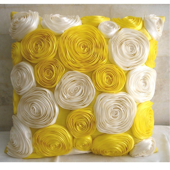 Decorative Throw Pillow Covers Accent Pillows Couch Sofa Pillows 16x16 Inch Yellow Silk Pillow Cover Ribbon Embroidered Sunny Yellow Blooms