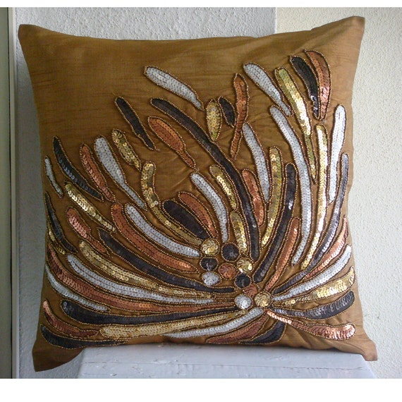 Cracker - Throw Pillow Covers - 20x20 Inches Silk Pillow Cover Embroidered with Different Color Sequins & Beads