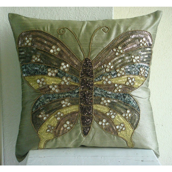 Decorative Throw Pillow Covers Accent Pillow Couch Pillow 16 Inch Silk Pillow Cover Embroidered Sequin Bead Butterfly Envy Home Decor Living