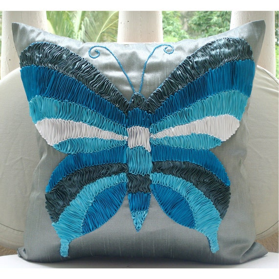 "Designer  Multicolor Butterfly Ribbon Pillows Cover, Blue Decorative Pillows Cover Silk Pillowcase, Square  20""x20"" - Butterfly Dreams"