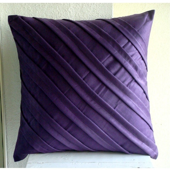 Decorative Throw Pillow Covers Couch Pillow Case Sofa Bed Pillows 16x16 Deep Purple Suede Pillow Cover Home Living Decor Contemporary Purple