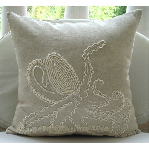 Decorative Throw Pillow Cover Accent Pillow Couch Sofa Toss Pillow 18x18 Natural Beige Linen Pillow Case Pearl Embroidered Bedding Octopus