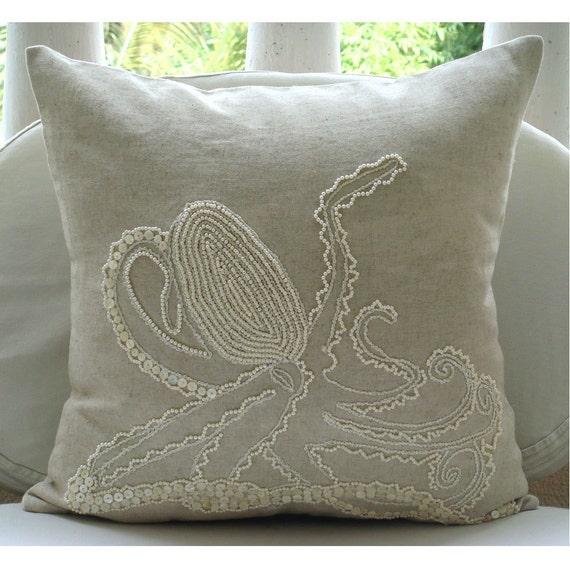 "Luxury  Ecru Throw Pillows Cover, Octopus Ocean And Beach Theme Pillows Cover Square  18""x18"" Cotton Linen Throw Pillows Cover - Octopus"