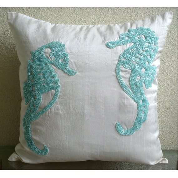 thehomecentric - Handmade White Decorative Pillows Cover, Beaded Sea Horse Beach And Ocean Theme ...