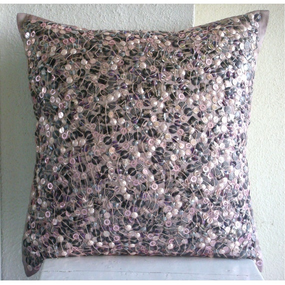 Decorative Pillow Cover Accent Pillows Couch Toss 16x16 Inch Pink Silk Pillow Cover Embroidered Textured Beads Home Decor Bedding Fairy Land