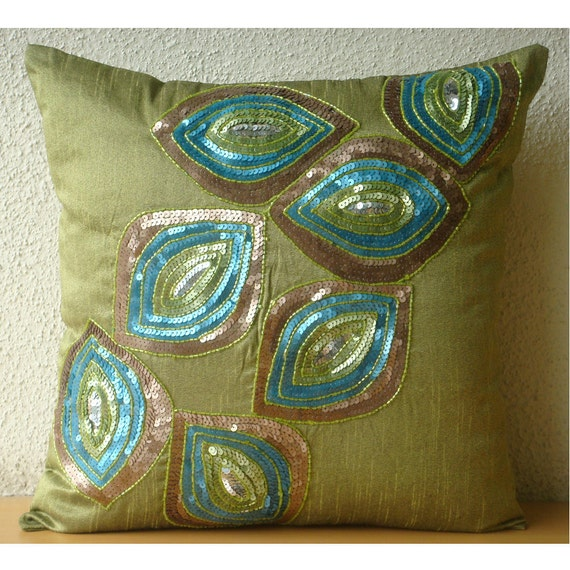 Peacock Abstract - Throw Pillow Covers - 18x18 Inches Silk Pillow Cover with Sequin Embrodiery