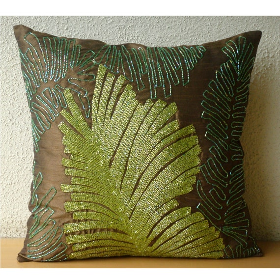 "Luxury Brown Decorative Pillows Cover, 16""x16"" Silk Pillowcase, Square  Beaded Leaf Botanical Pillows Cover - Rain Forest"