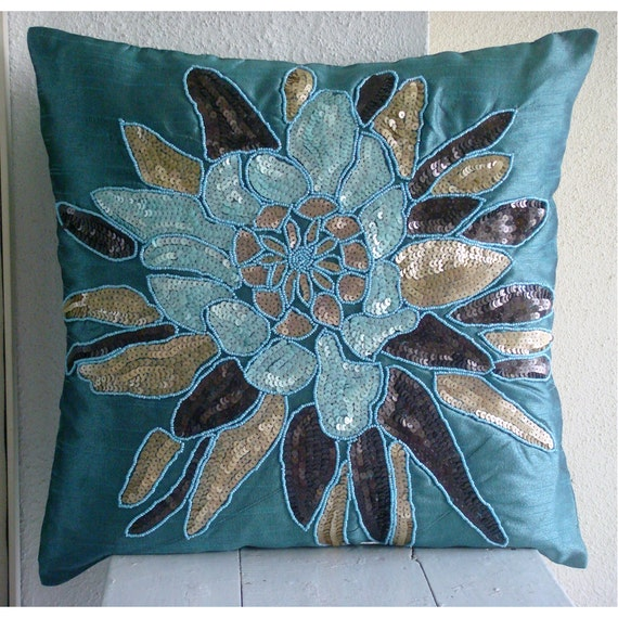 "Blue Throw Pillows Cover For Couch,  Square  Sequins & Beaded Flower Medallion Floral Theme 16""x16"" Silk Throw Pillows Cover - Centerpiece"