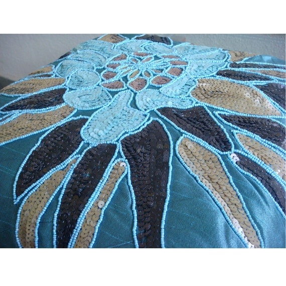 Blue Beaded Throw Pillow : thehomecentric - Blue Throw Pillows Cover For Couch, Square Sequins & Beaded Flower Medallion ...