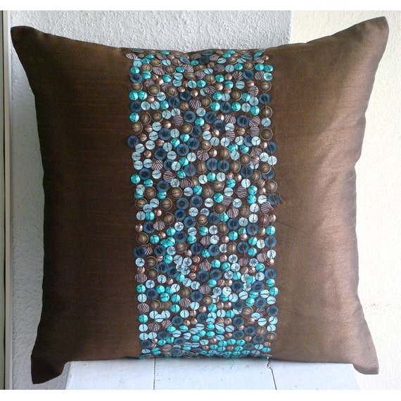 Luxury Brown Throw Pillow Covers 16x16 Silk