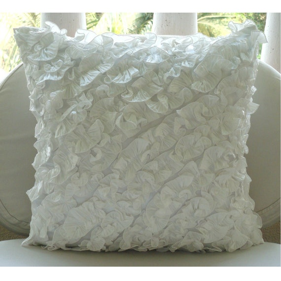 "Designer Ivory Pillow Cases, 16""x16"" Silk Pillow Covers, Square  Vintage Style Ruffles Shabby Chic Decorative Pillows Cover -Ruffles In Love"