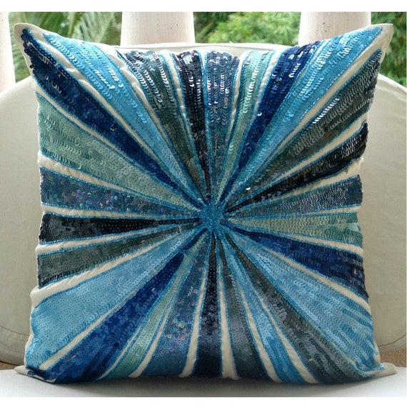 Decorative Pillow Covers 16x16 : Blue Decorative Pillows Cover 16x16 Silk Throw