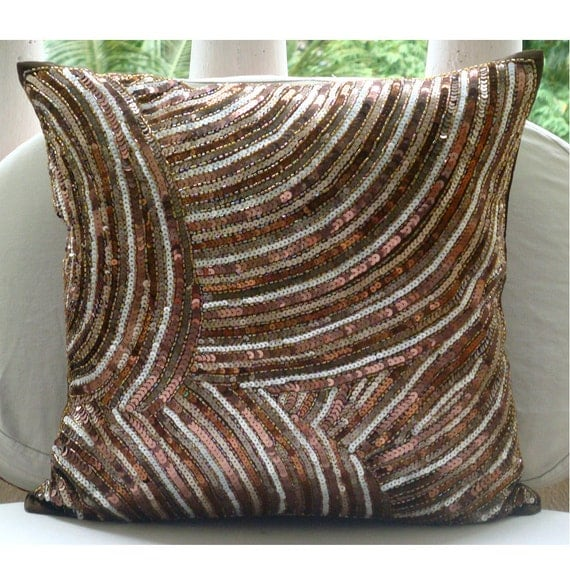 "Luxury Brown Decorative Pillow Cover, 16""x16"" Silk Pillows Cover, Square  Sequins & Beaded Sparkly Glitter Pillows Cover - Diva"