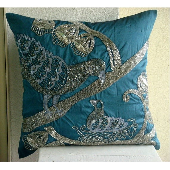 Decorative Throw Pillow Covers Accent Pillows Couch Pillows 16x16 Blue Pillow Case Silk Pillow Cover Beads Sequins Embroidered Birdy Love