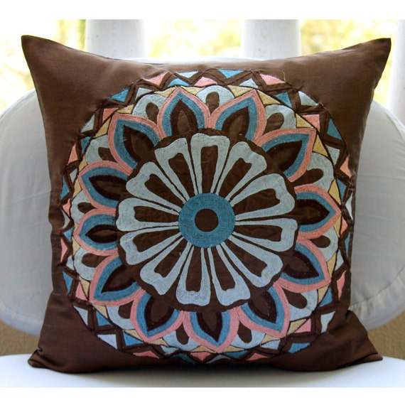 Moroccan Style - Euro Sham Covers - 26x26 Inches Silk Euro Sham Cover with Embroidery