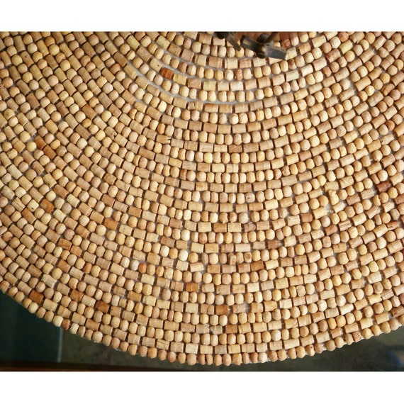 Natural Wood 14 Inches Round Placemat Made With Wooden Beads
