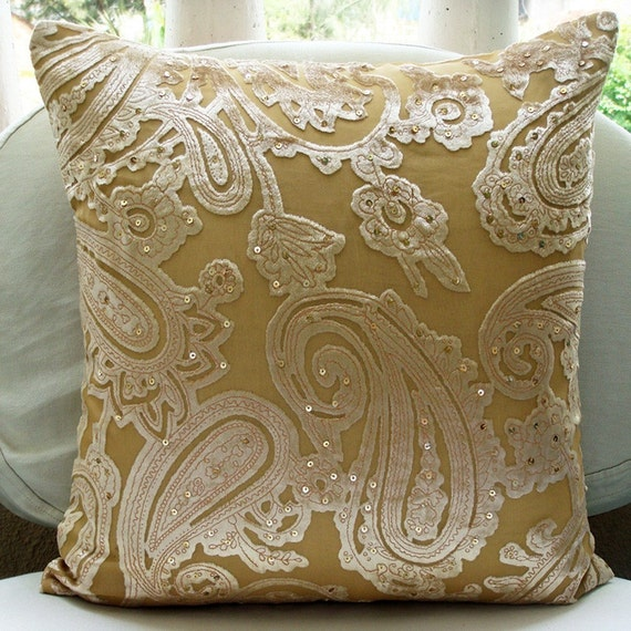 RESERVED FOR STARWEN - I Love Paisleys - 2 Pcs 16 x 16 Inch Velvet Pillow Cover in Burnout Paisley Design with Sequins