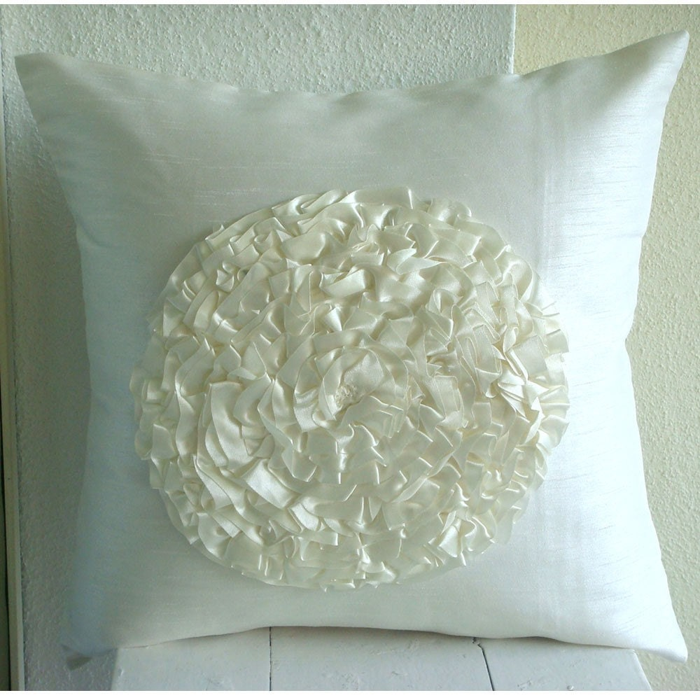 Designer Ivory Decorative Pillow Cover Ruffle Flower